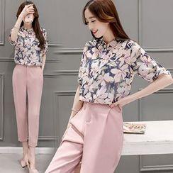 Ashlee - Set: Floral Print Chiffon Blouse + Dress Pants