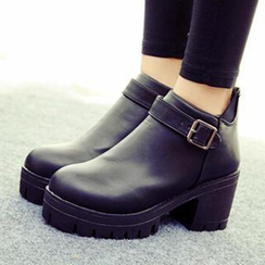 SouthBay Shoes - Chunky Heel Platform Ankle Boots