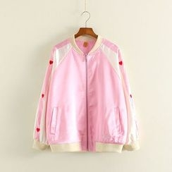 Mushi - Heart Embroidered Color Panel Bomber Jacket