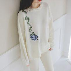 JUSTONE - Drop-Shoulder Flower-Embroidered Knit Top