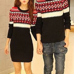 Fashion Street - Pattern Couple Matching Sweater / Sweater Dress