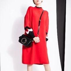 Halona - Contrast-Trim Sweater Dress