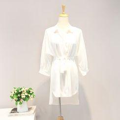 AIGIL - 3/4-Sleeve Tie Waist Blouse