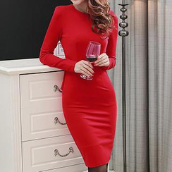 Lovebirds - Long-Sleeve Peplum Dress