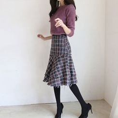 Hello sweety - Layered-Hem Plaid Skirt