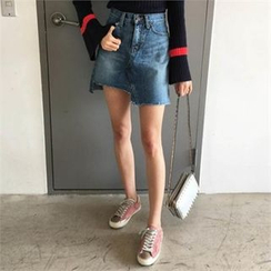 QNIGIRLS - Asymmetric-Hem Denim Skirt