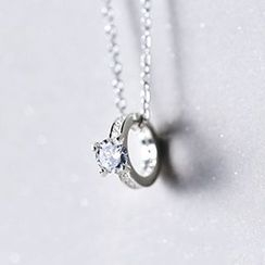 A'ROCH - 925 Sterling Silver Rhinestone Ring Pendant Necklace