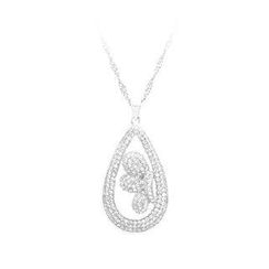 BELEC - 925 Sterling Silver Water Drops Pendant with White Cubic Zircon and Necklace