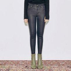 chuu - Coated Skinny Pants