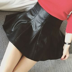 Colorful Shop - Faux-Leather A-Line Skirt
