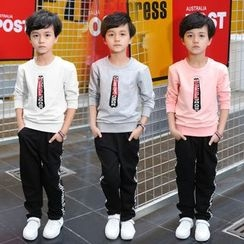 PAM - Kids Set: Long-Sleeve Pullover + Lettering Pants