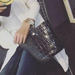 Petal Princess - 圈環裝飾鱷魚紋手提包