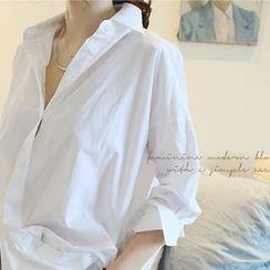 NANING9 - Cotton Drop-Shoudler Shirt