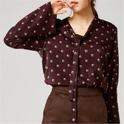 MAGJAY - Tie-Neck Cutaway-Back Patterned Blouse