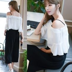 Dowisi - Set : Cutout Shoulder Frilled Top + Wide Leg Pants