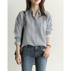 UPTOWNHOLIC - Pocket-Detail Striped Shirt