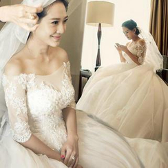 Angel Bridal - Off-Shoulder Lace Panel Wedding Ball Gown