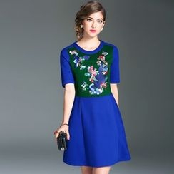Elabo - Embroidered Short-Sleeve A-Line Dress