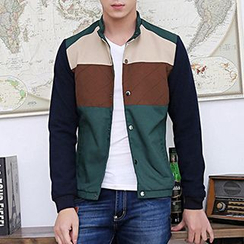 Evzen - Color Block Band Collar Button Jacket