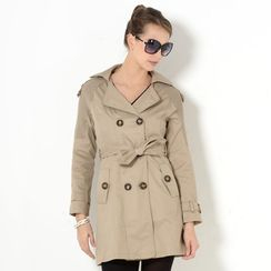 YesStyle Z - Knit Panel Double-Breasted Trench Coat