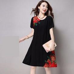 GLIT - Floral Print Panel Short-Sleeve Dress