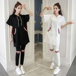 HotBlock - Set: Hooded Short-Sleeve Long T-Shirt + Knee Cutout Leggings