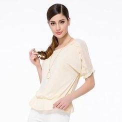 O.SA - Short-Sleeve Lace-Trim Ruffle Chiffon Top