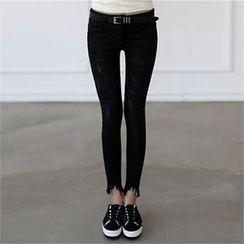 CHICFOX - Cutout-Hem Fleece-Lined Skinny Pants