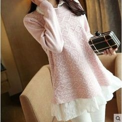anzoveve - Long-Sleeve Mock Two-Piece Long Knit Top