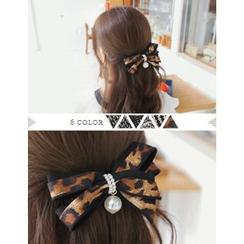 soo n soo - Faux-Pearl Bow Hair Barrette