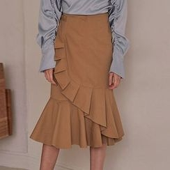 Obel - Ruffle Trim Midi Skirt