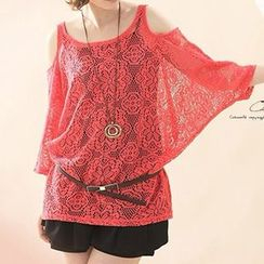 Rocho - Set: 3/4-Sleeve Cut Out Lace T-Shirt + Tank Top