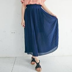 BAIMOMO - High-Waist Accordion-Pleat Maxi Skirt