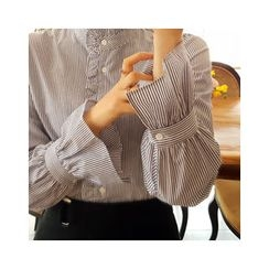 LEELIN - Ruffle-Detail Striped Blouse