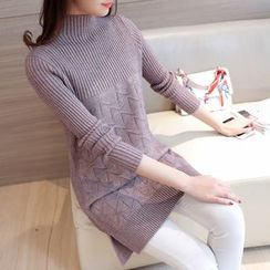 Shomez - Mock Neck Knit Tunic