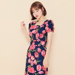HOTPING - Puff-Sleeve Floral Print Long Dress