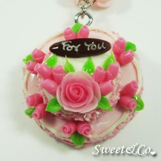 Sweet & Co. - Sweet 2 Layer For You Pink Roses Cake Pearl Necklace