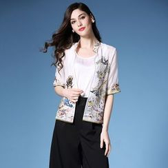 Elabo - Elbow-Sleeve Embroidered Linen Jacket