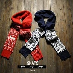 SNAPS - Deer Pattern Couple Knit Scarf