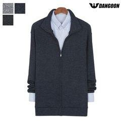 DANGOON - Stand-Collar Melange Zip-Up Cardigan