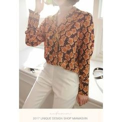 Miamasvin - Notched-Collar Buttoned Flower Pattern Blouse