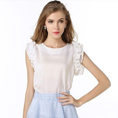 LIVA GIRL - Frill Trim Ribbon Sleeveless Chiffon Top