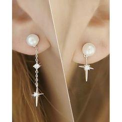 Miss21 Korea - Faux-Pearl Cross-Dangle Asymmetric Earrings