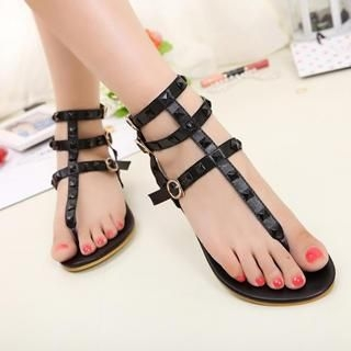 Mancienne - Studded Thong Gladiator Flat Sandals