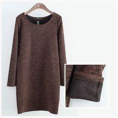 Cobogarden - Fleece-Lined Long-Sleeve Dress