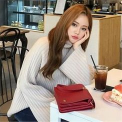 QNIGIRLS - Mock-Neck Ribbed Sweater
