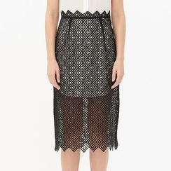 Obel - Lace Overlay Sleeveless Collared Dress