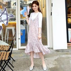 DEEPNY - Sleeveless Ruffle-Hem Floral Print Dress