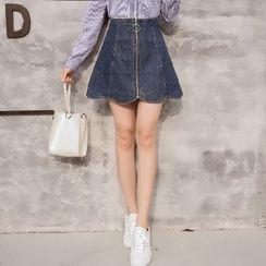 Romantica - A-Line Denim Zip Skirt