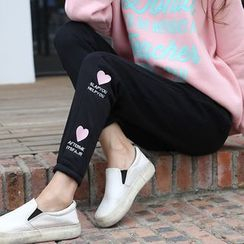 Melon Juice - Heart Embroidered Sweatpants